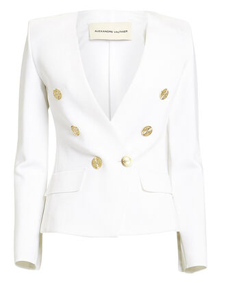 Double-Breasted Blazer, WHITE, hi-res