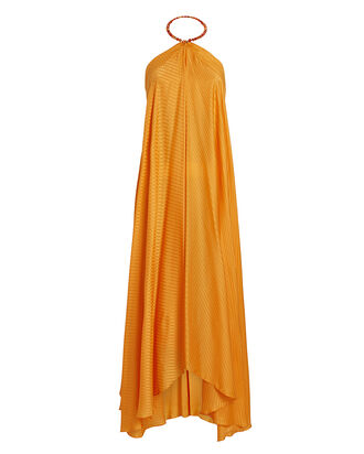 Terrazza Silk Halter Dress, ORANGE, hi-res