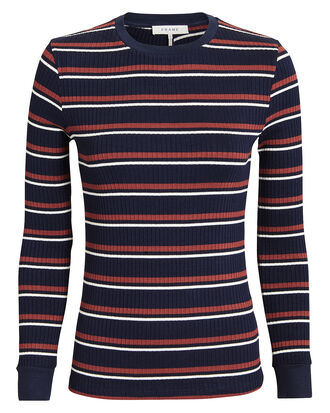 Striped Long-Sleeved Tee, NAVY, hi-res