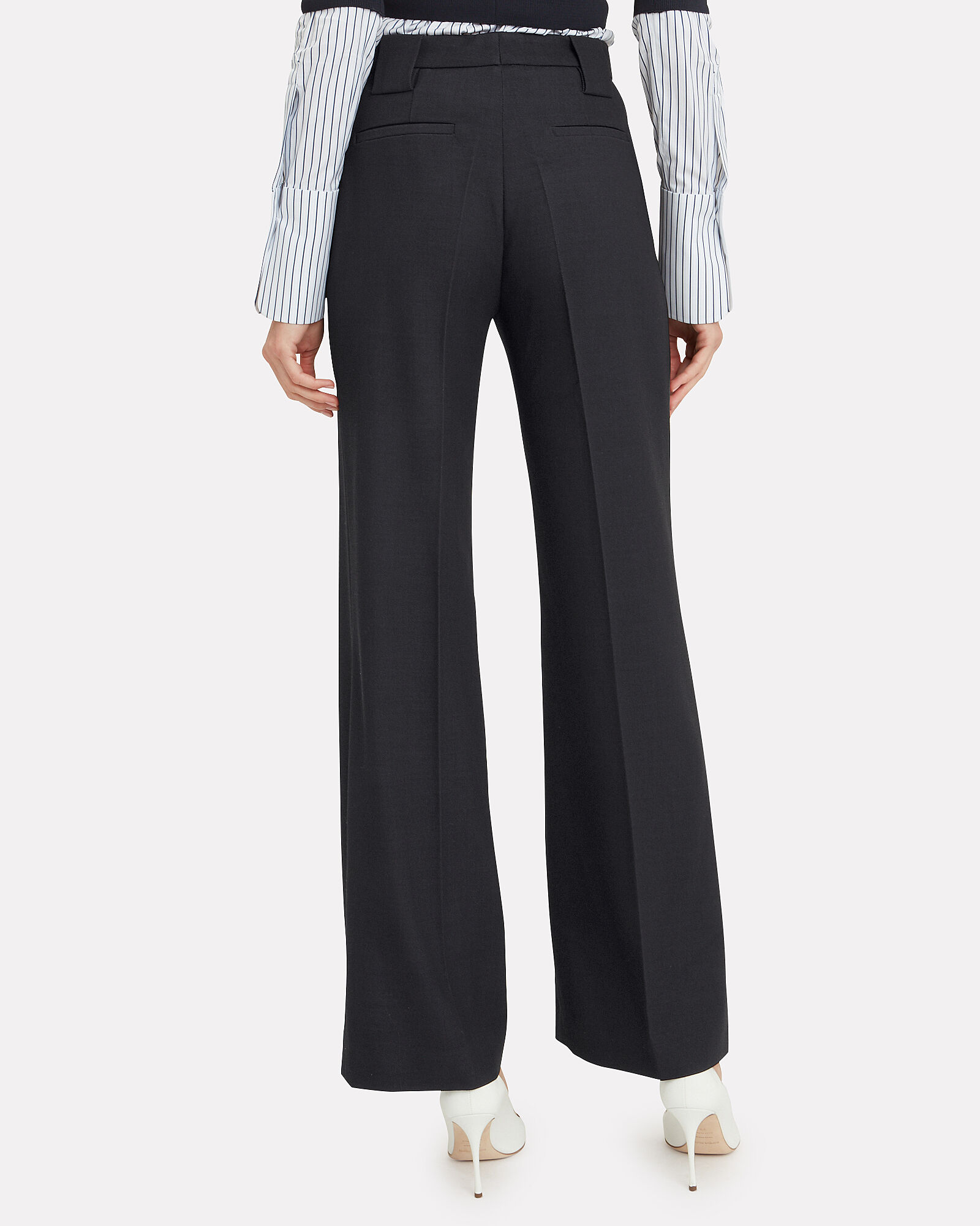 Wool-Blend Front Zip Trousers, NAVY, hi-res