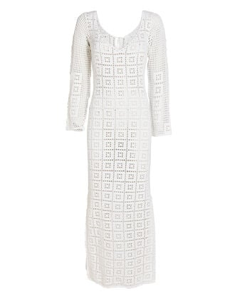 Aria Crochet Cotton Midi Dress, WHITE, hi-res