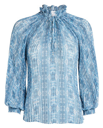 Paulette Pleated Paisley Print Blouse, LIGHT BLUE, hi-res