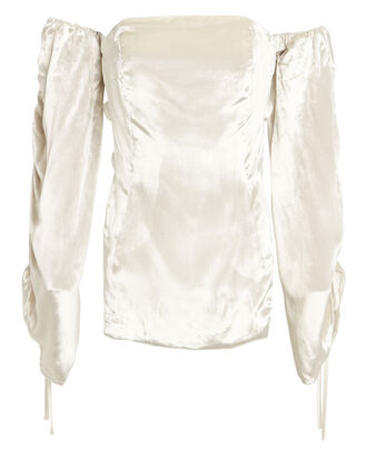 Afra Off-The-Shoulder Velvet Blouse, IVORY, hi-res