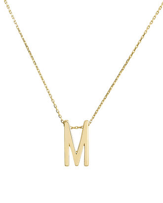 M Alphabet Necklace, GOLD, hi-res