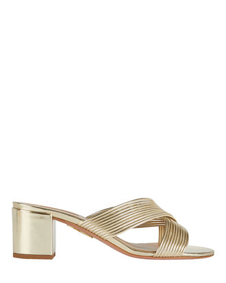 Perugia Leather Slide Sandals, GOLD, hi-res