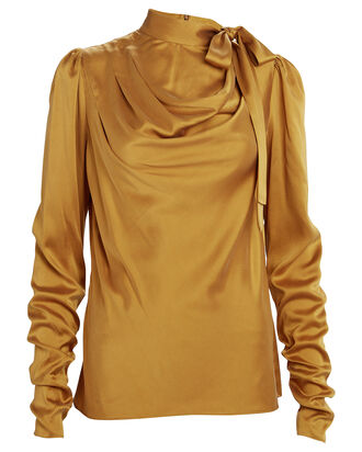 Espionage Tie Neck Silk Blouse, GOLD, hi-res