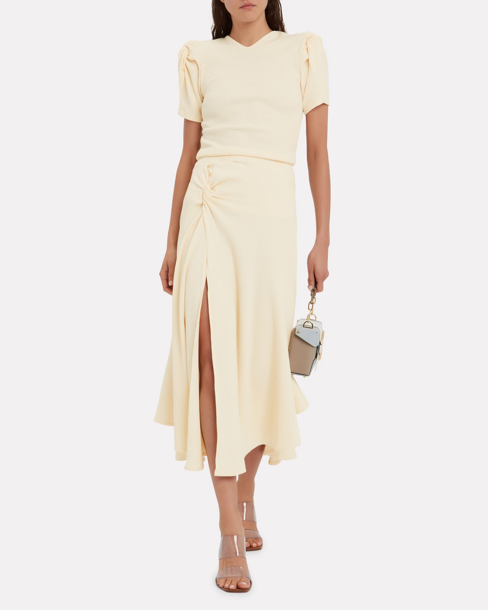 Honey Ain't Home Twisted Midi Skirt, BUTTER, hi-res