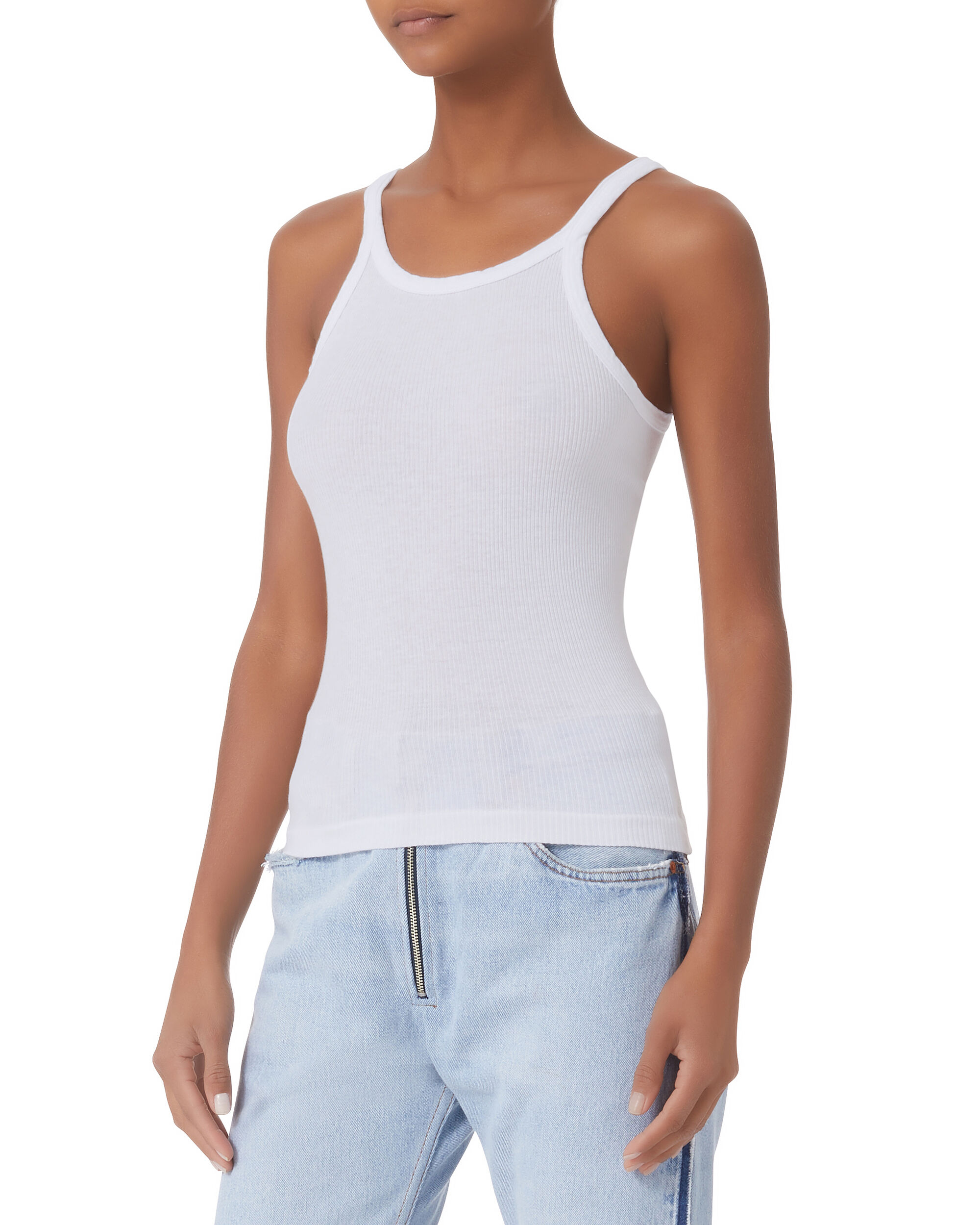 White Ribbed Tank, WHITE, hi-res