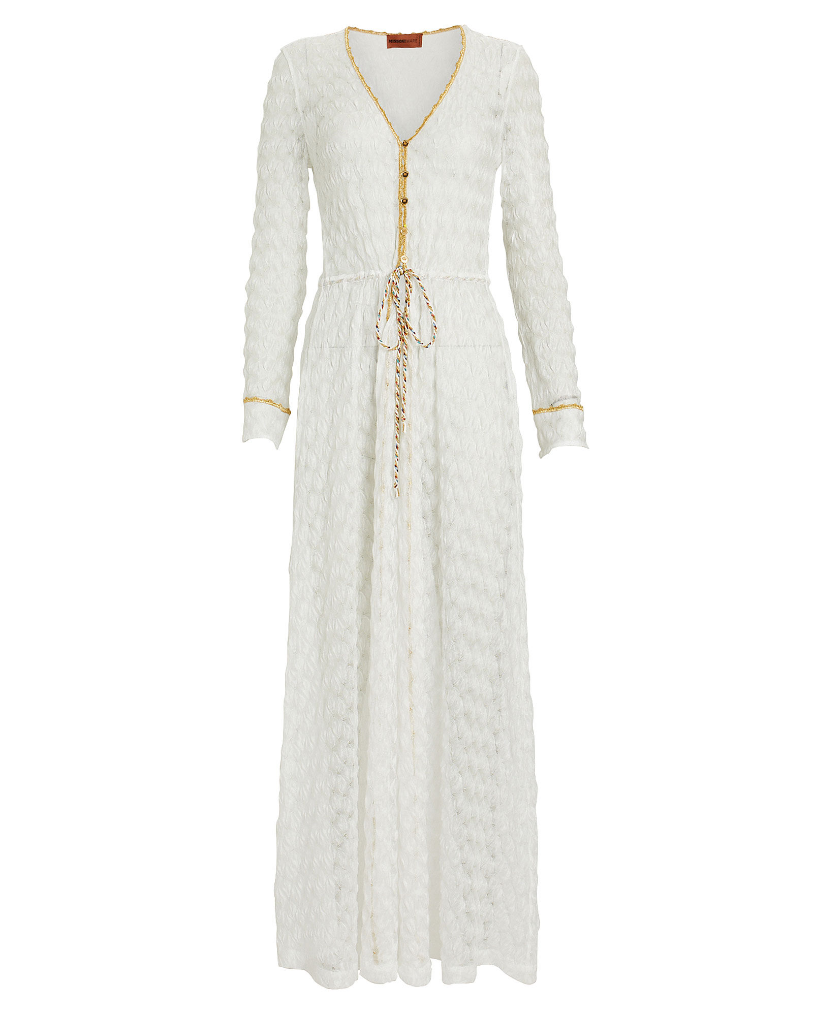 Knit Kaftan Cover-Up, WHITE, hi-res