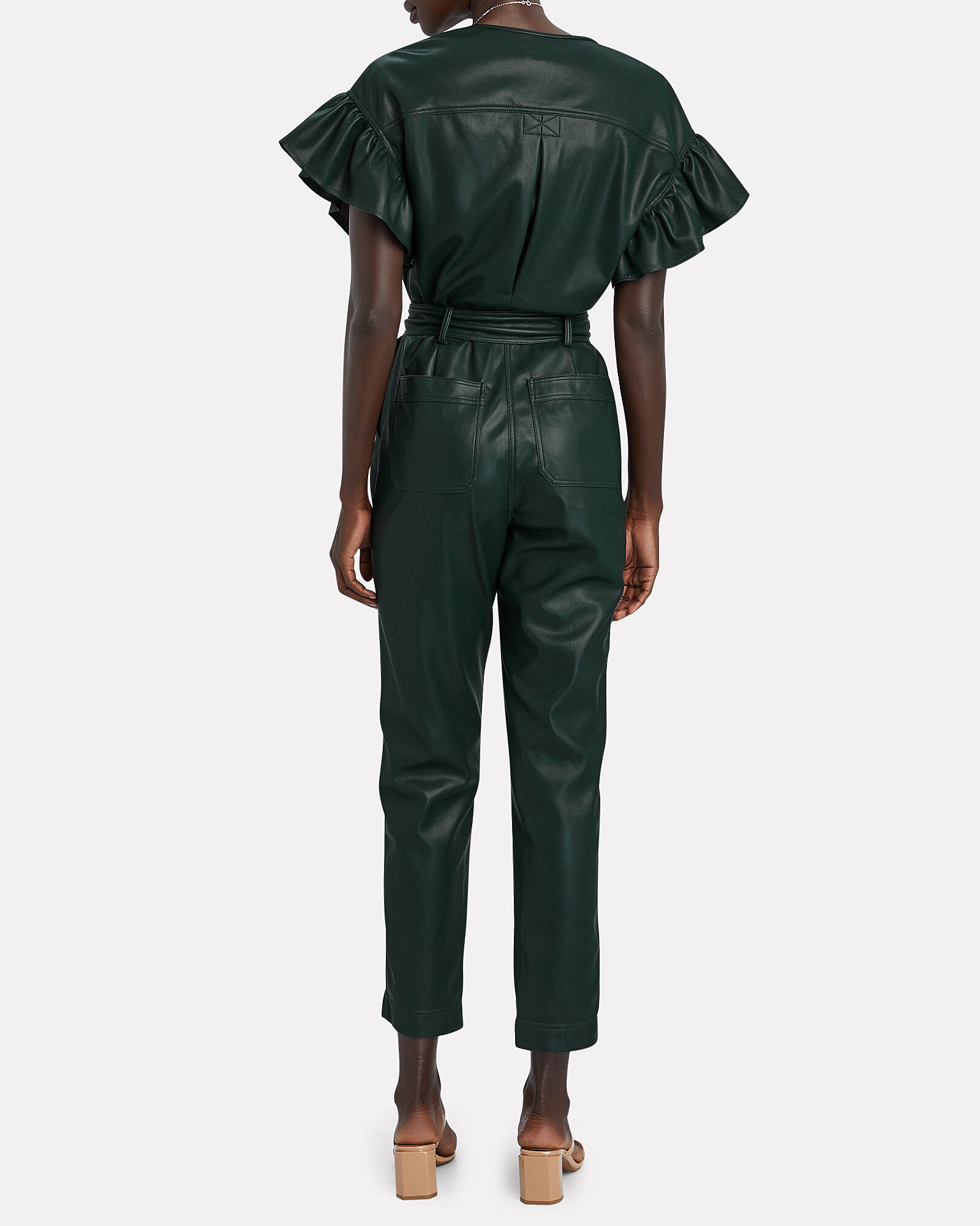 Meredith Vegan Leather Jumpsuit, EVERGREEN, hi-res