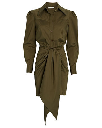 Agnes Tie Front Shirt Dress, OLIVE, hi-res