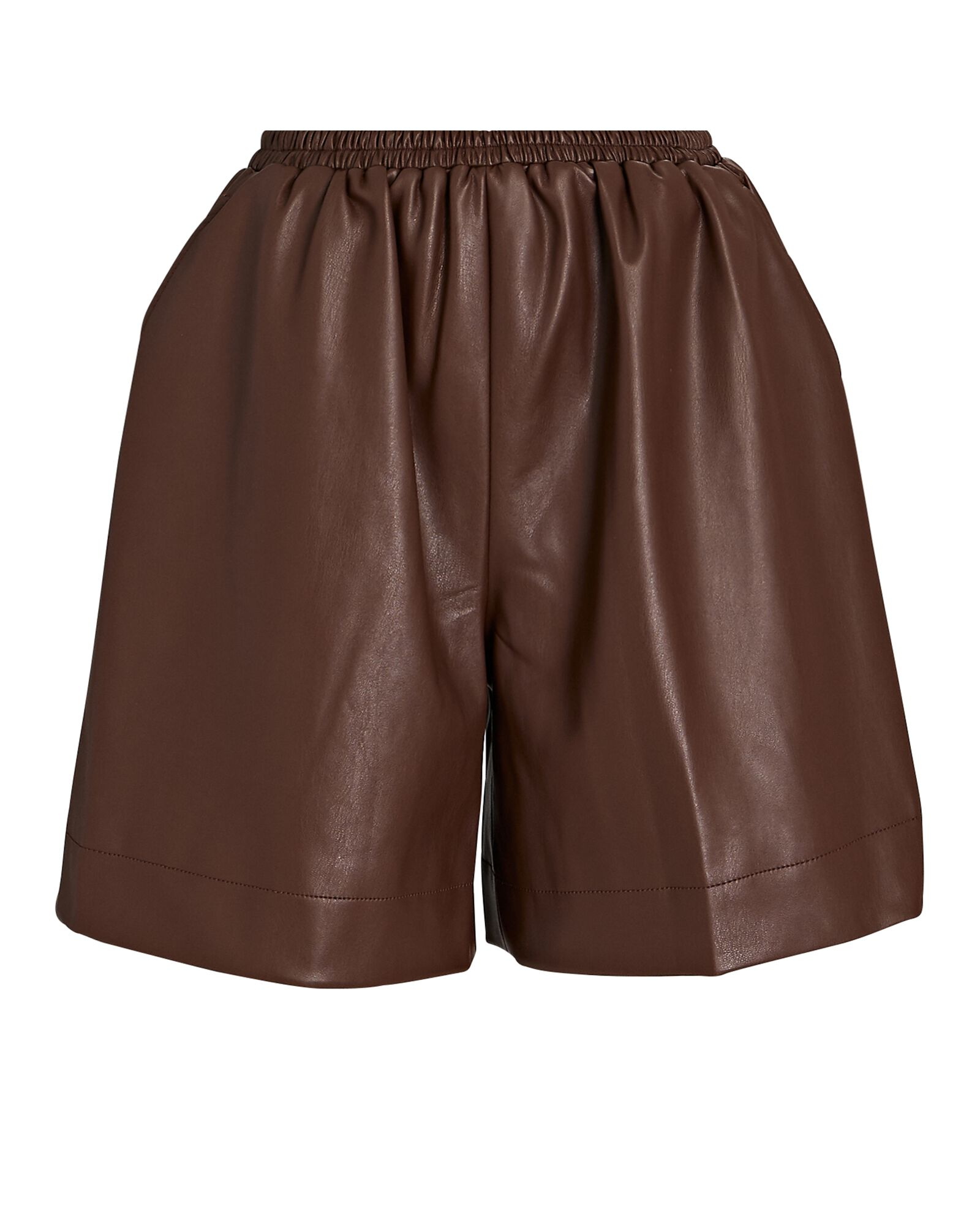 Clark Vegan Leather Shorts, BROWN, hi-res