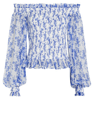 Damaris Chiffon Off-The-Shoulder Blouse, WHITE/BLUE FLORAL, hi-res