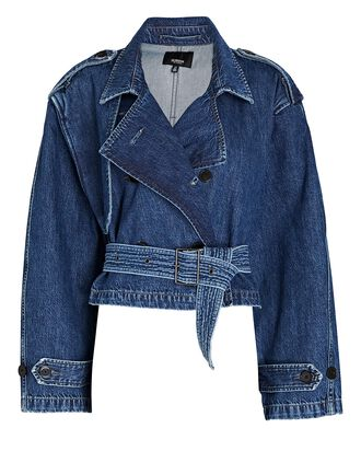 Cropped Denim Trench Jacket, Wander, hi-res