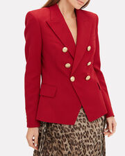 Classic Double-Breasted Red Blazer, RED, hi-res