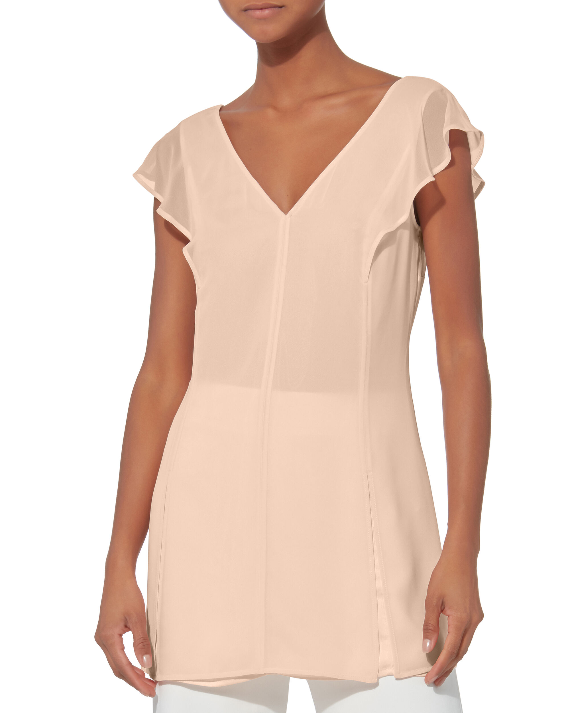 Layered Ruffle Slip Top, BLUSH, hi-res