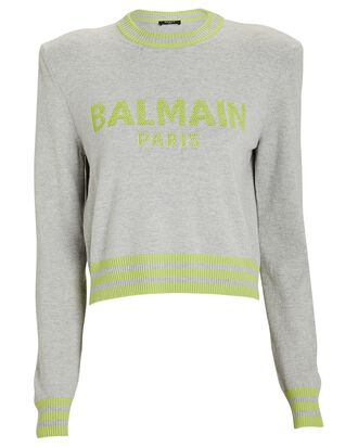 Cropped Wool-Cashmere Logo Sweater, GREY, hi-res