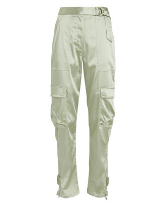 Structured Sateen Utility Pants, LIGHT GREEN, hi-res
