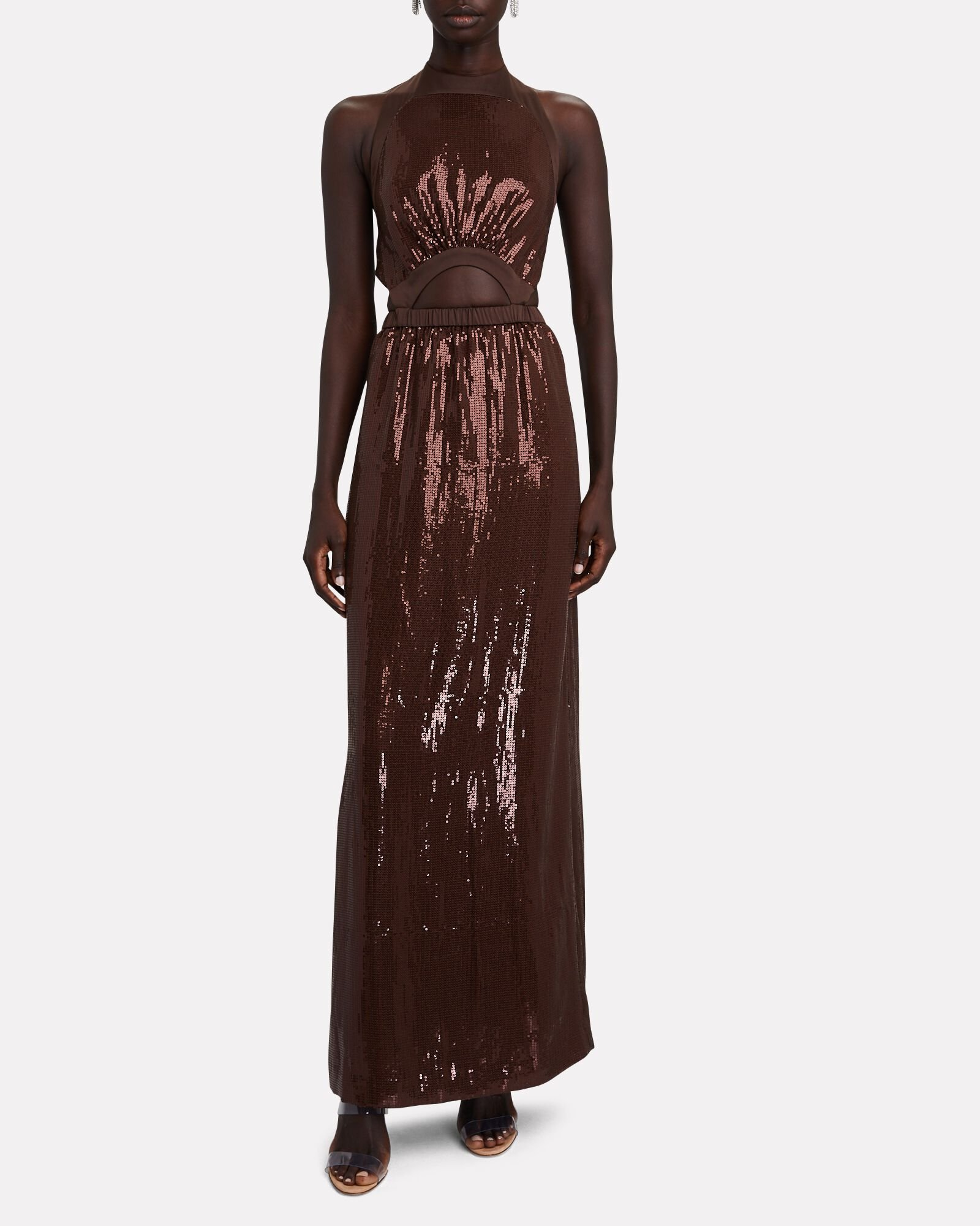 Katharine Cut-Out Sequin Dress, BROWN, hi-res