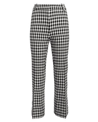 Gingham Stretch Cotton Flare Pants, BLK/WHT, hi-res
