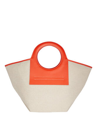 Small Cala Leather-Trimmed Canvas Tote, BEIGE/ORANGE, hi-res