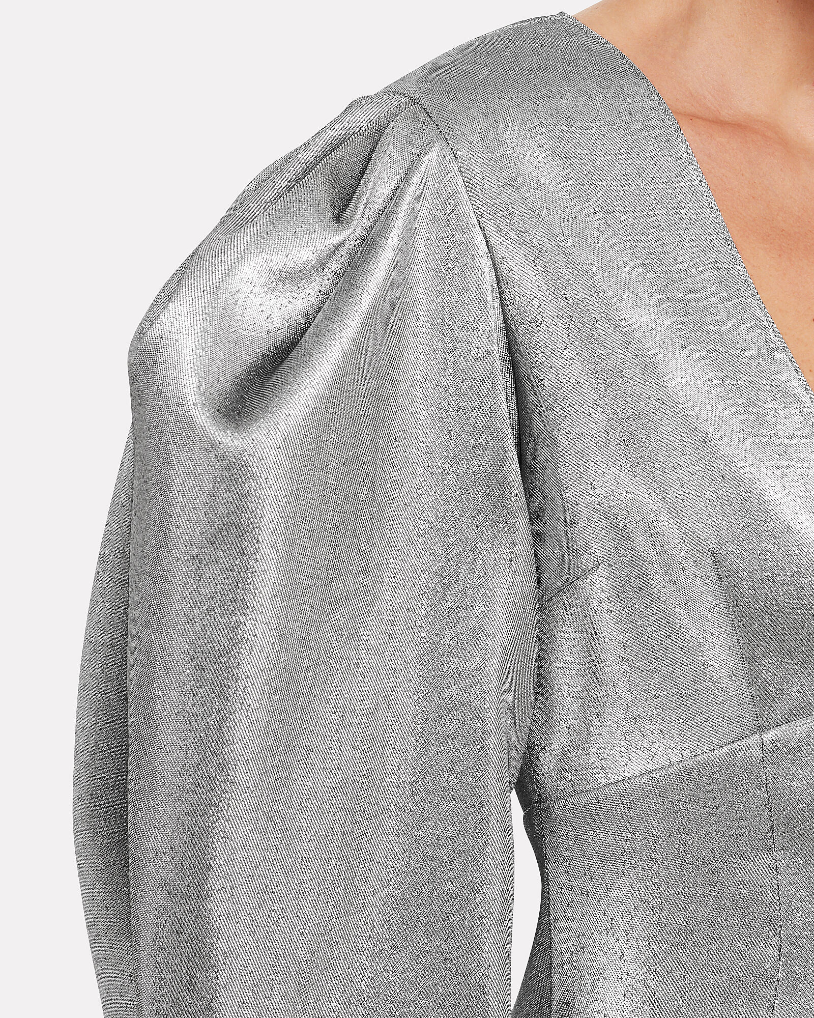 Lurex Puff Sleeve Mini Dress, SILVER, hi-res