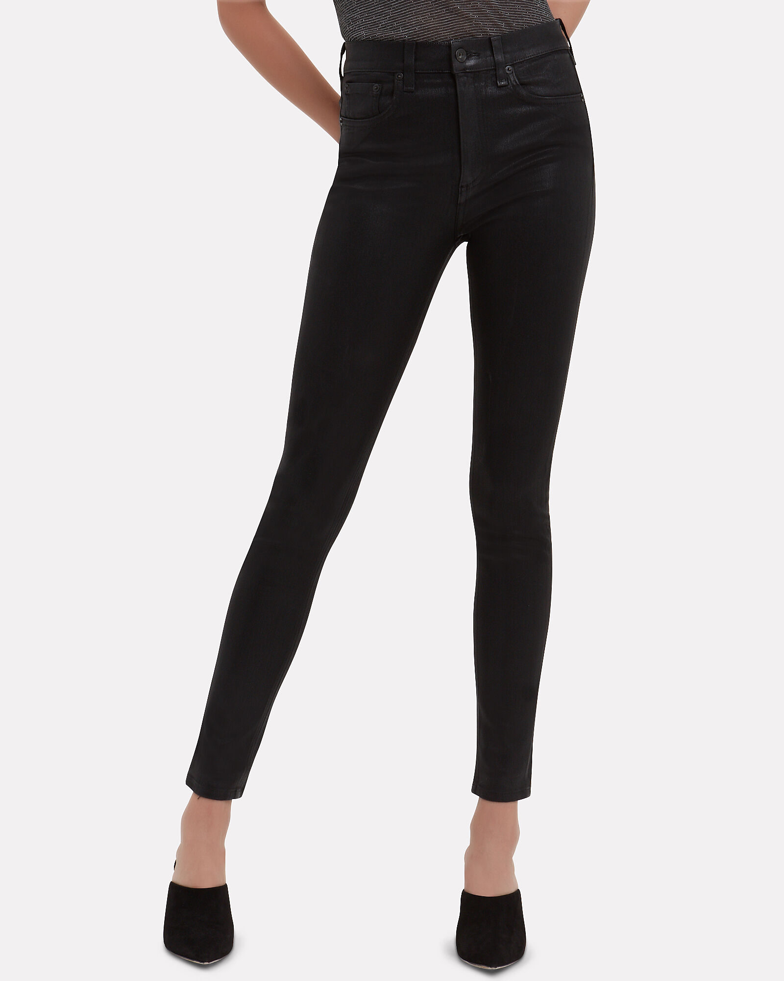 Coated High-Rise Skinny Jeans, BLACK DENIM, hi-res