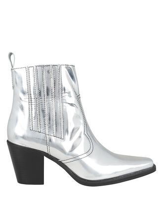 Western Style Booties, SILVER, hi-res