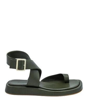 x RHW 4 Toe-Ring Flat Sandals, DARK GREEN, hi-res