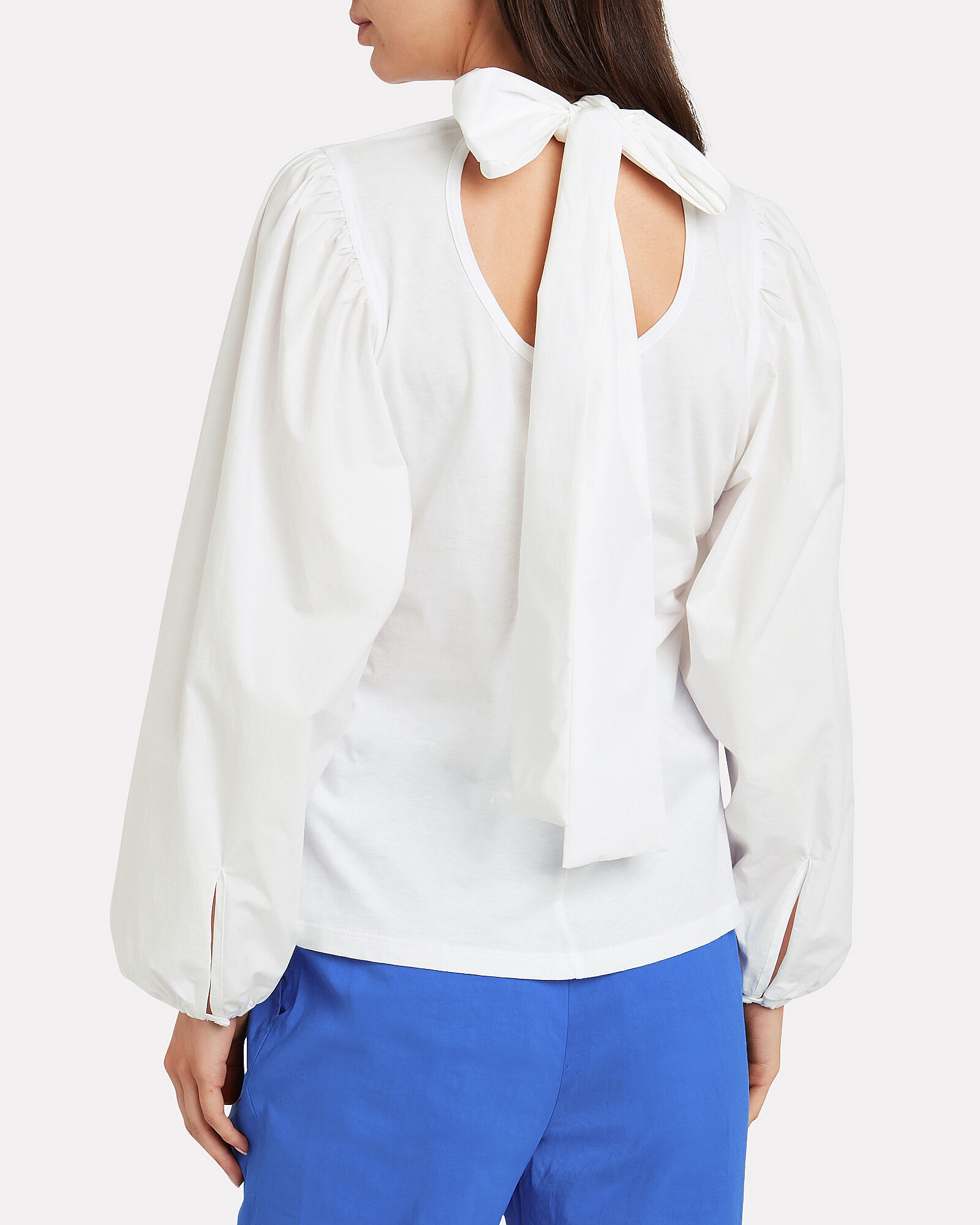 Kat Tie Neck Poplin Blouse, WHITE, hi-res