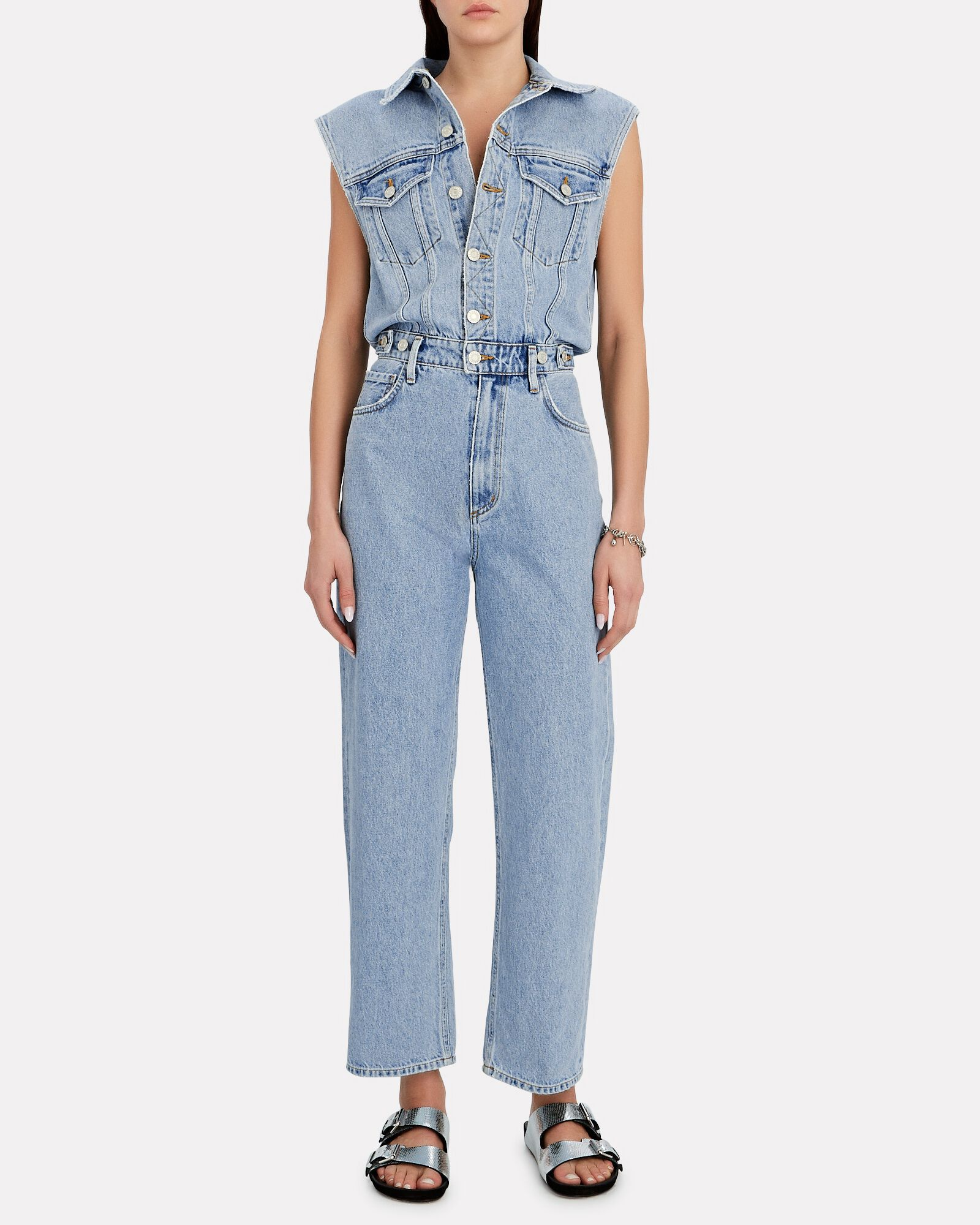 Blanca Sleeveless Denim Jumpsuit, DRIVE, hi-res