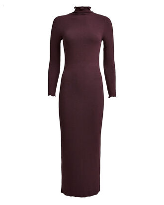 Ribbed Turtleneck Dress, RED-DRK, hi-res