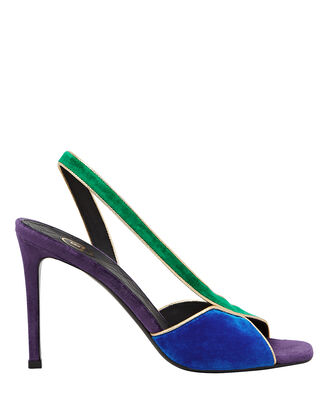 Macy Velvet Slingback Sandals, PURPLE/EMERALD/COBALT, hi-res