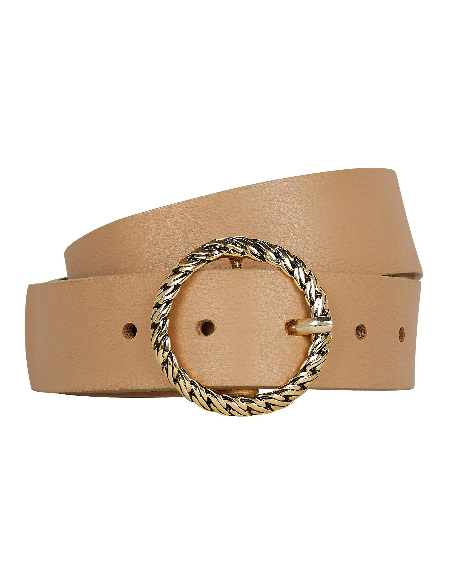 Nadia Leather Waist Belt, BEIGE, hi-res