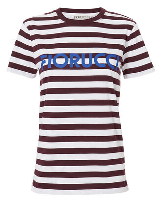 Iconic Stripes T-Shirt, WHITE/BROWN/BLUE, hi-res