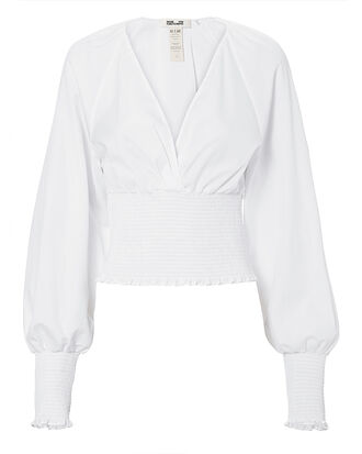Smocked Poplin Long-Sleeved Blouse, WHITE, hi-res