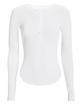 Henley Baseball Hem Top, WHITE, hi-res