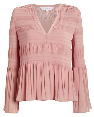 Essie Pleated Blouse, BLUSH, hi-res