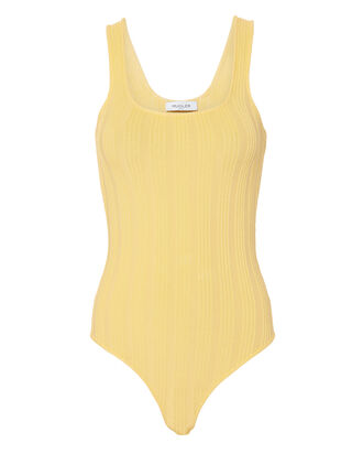 Yellow Tonal Stripe Bodysuit, YELLOW, hi-res