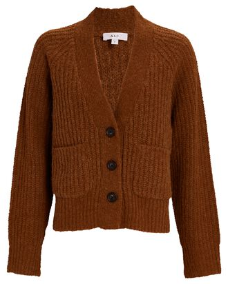 Cleveland Rib Knit Cardigan, BROWN, hi-res