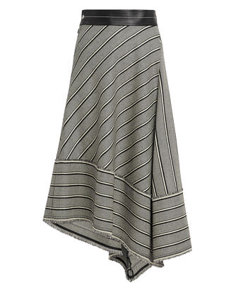 Basketweave Midi Skirt, BLK/WHT, hi-res