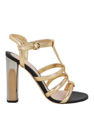 Gold Leather Gladiator Sandals, GOLD, hi-res