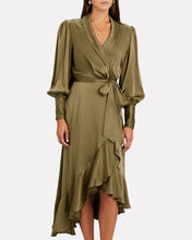 Silk Midi Wrap Dress, OLIVE/ARMY, hi-res