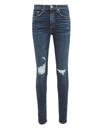Destroyed High-Rise Skinny Jeans, DENIM-DRK, hi-res