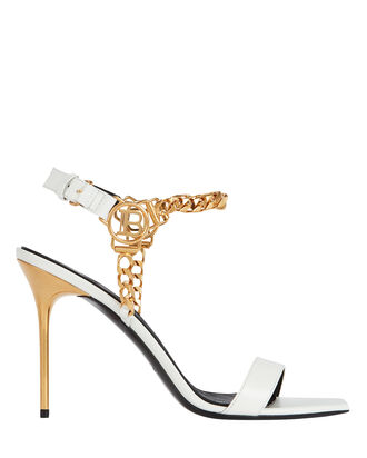 Roxana Logo Chain-Link Sandals, WHITE, hi-res