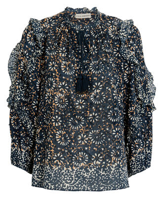 Lillian Blouse, NAVY/FLORAL, hi-res