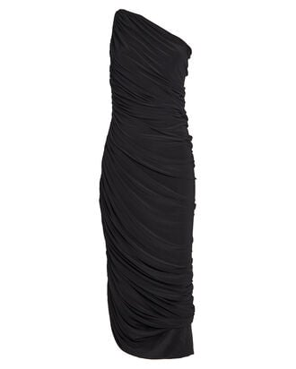 Diana Ruched One-Shoulder Dress, BLACK, hi-res