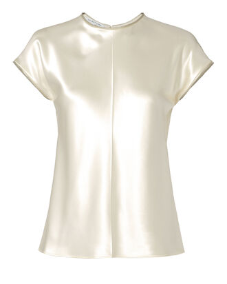 Zip-Trimmed Silk Top, IVORY, hi-res