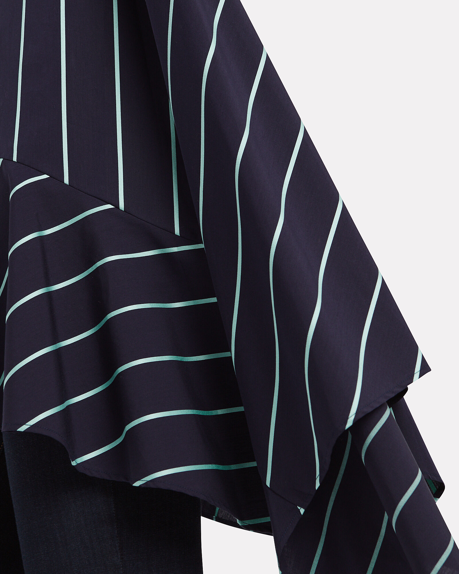 Spicy Asymmetrical Ruffled Poplin Shirt, NAVY/AQUA STRIPE, hi-res