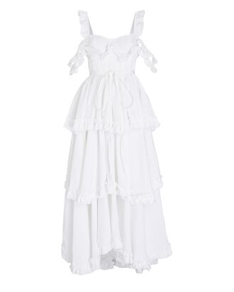 Tiered Ruffle Linen Maxi Dress, WHITE, hi-res